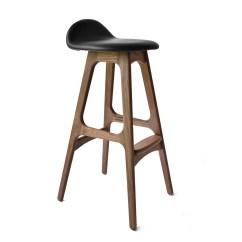 Erik Buck Chairs Blue Velvet Buch Model 61 Stools Bar Stool Walnut