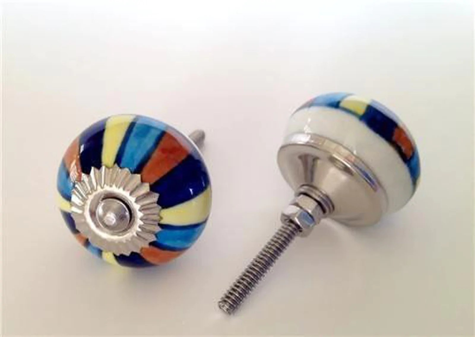 Colorful Blue Mixed Stripes Porcelain Cabinet Knobs