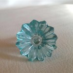 Soft Aqua Blue Daisy Glass Crystal Cabinet Knobs Drawer Pulls Dwyer Home Collection