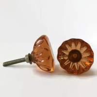 Antique Vintage Style Amber Glass Cabinet Knobs Drawer