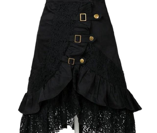Spring Summer Gothic Steampunk Rock Long Skirts Women Patchwork Lace Hem Skirts Plus Size Skirt