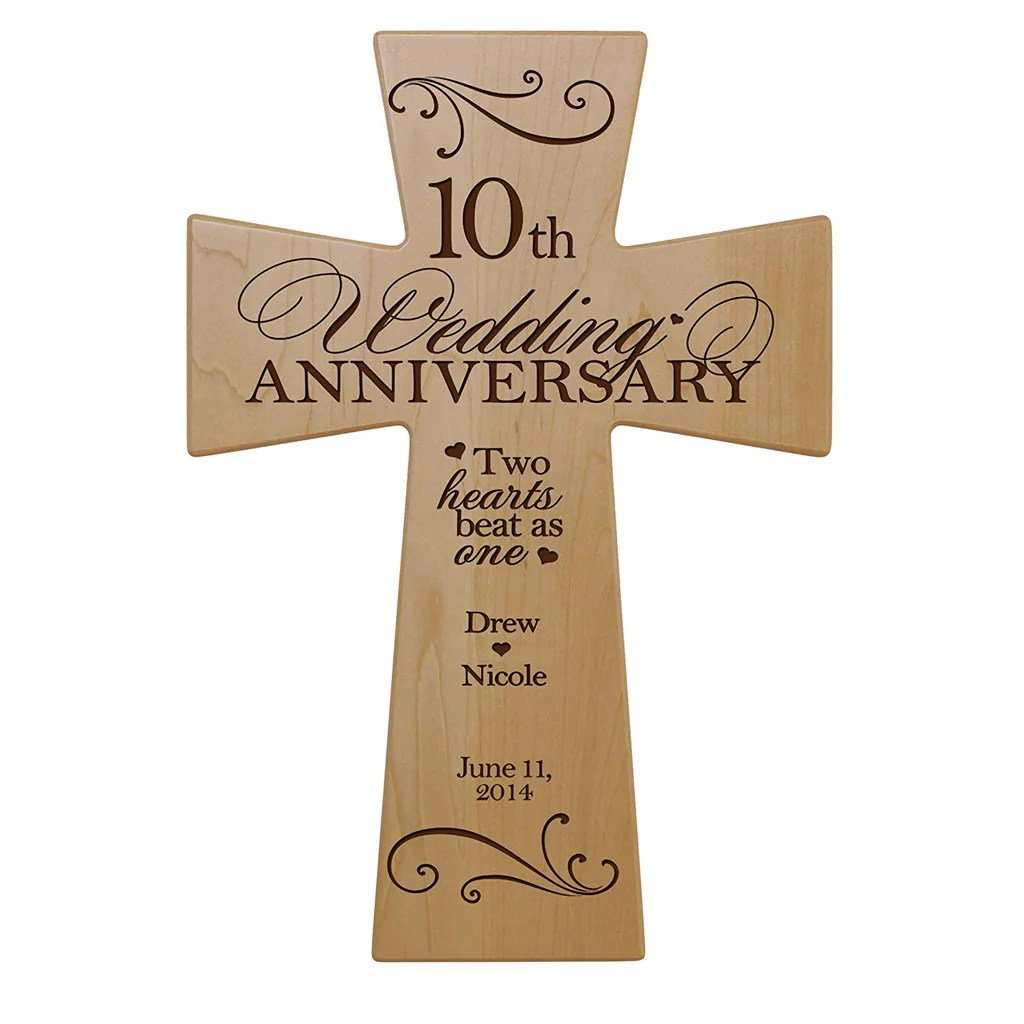 Personalized 10th Wedding Anniversary Maple Wood Wall