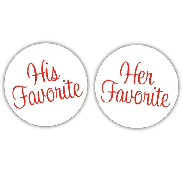 Wedding Favor Stickers His Favorite Her Favorite 15 pairs of 1.5 Favor Stickers Wedding Favor Labels His Favorite Her Favorite Stickers