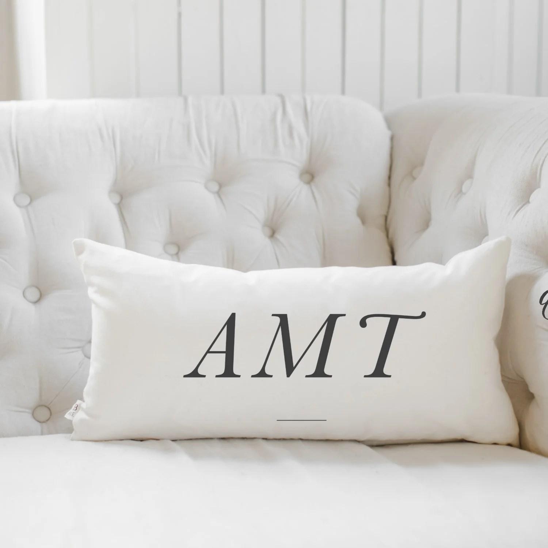 personalized monogram lumbar pillow