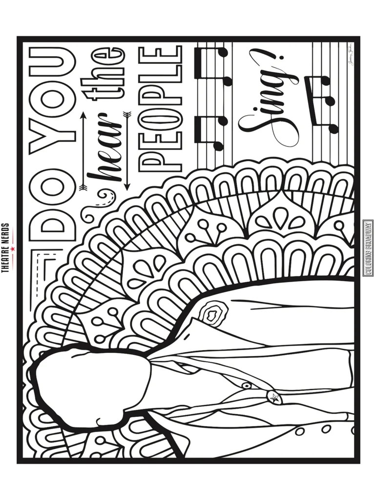 les misérables coloring pages (4pck) – thespian swag