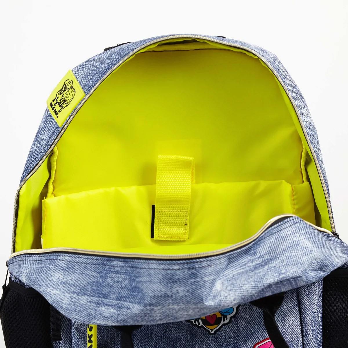 Yak Pak Backpack Denim Jean With Patches Laptop And