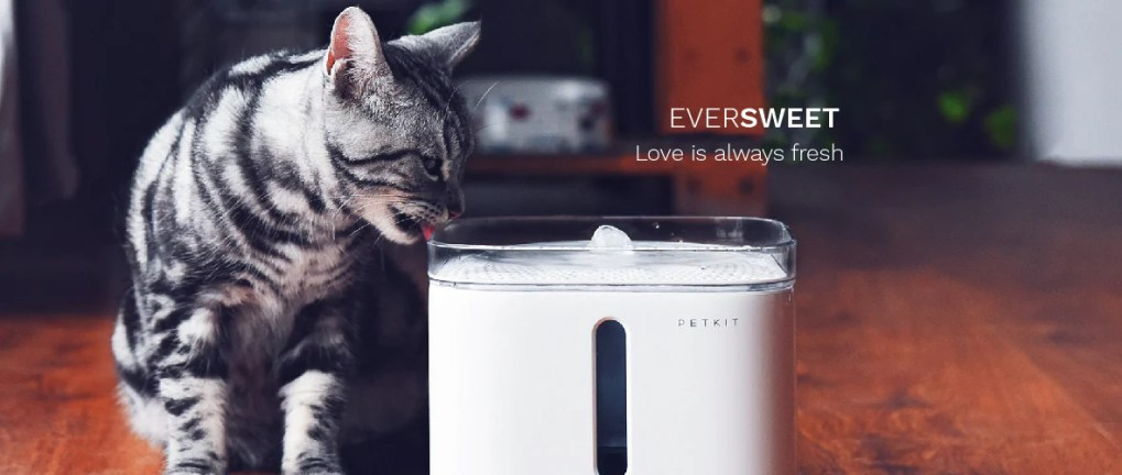 PETKIT - Smart Pet Water Drinking Fountain - Cat drinking from fountain