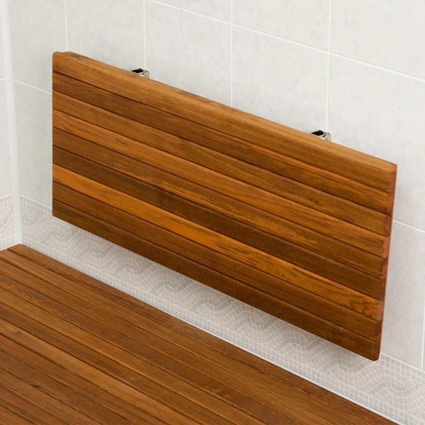 Wall Mounted Folding Teak Shower Bench Stylish Bathroom