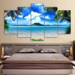Modern Living Room Wall Art Luxury Interior Design Hd Print Canvas Pictures 5 Panel Beach Blue Palm Trees Decor