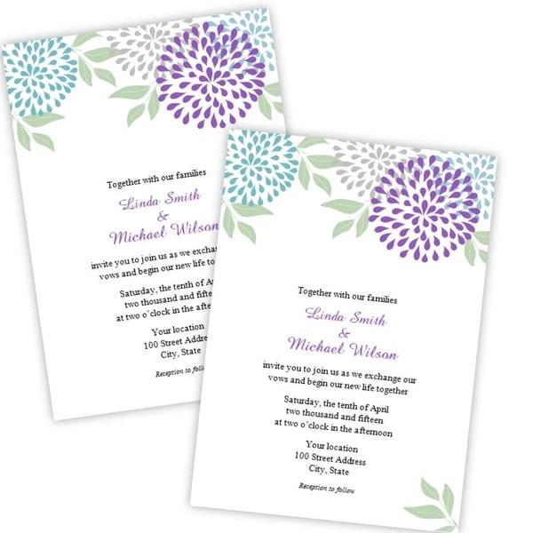 teal purple mums wedding invitation template a j s prints