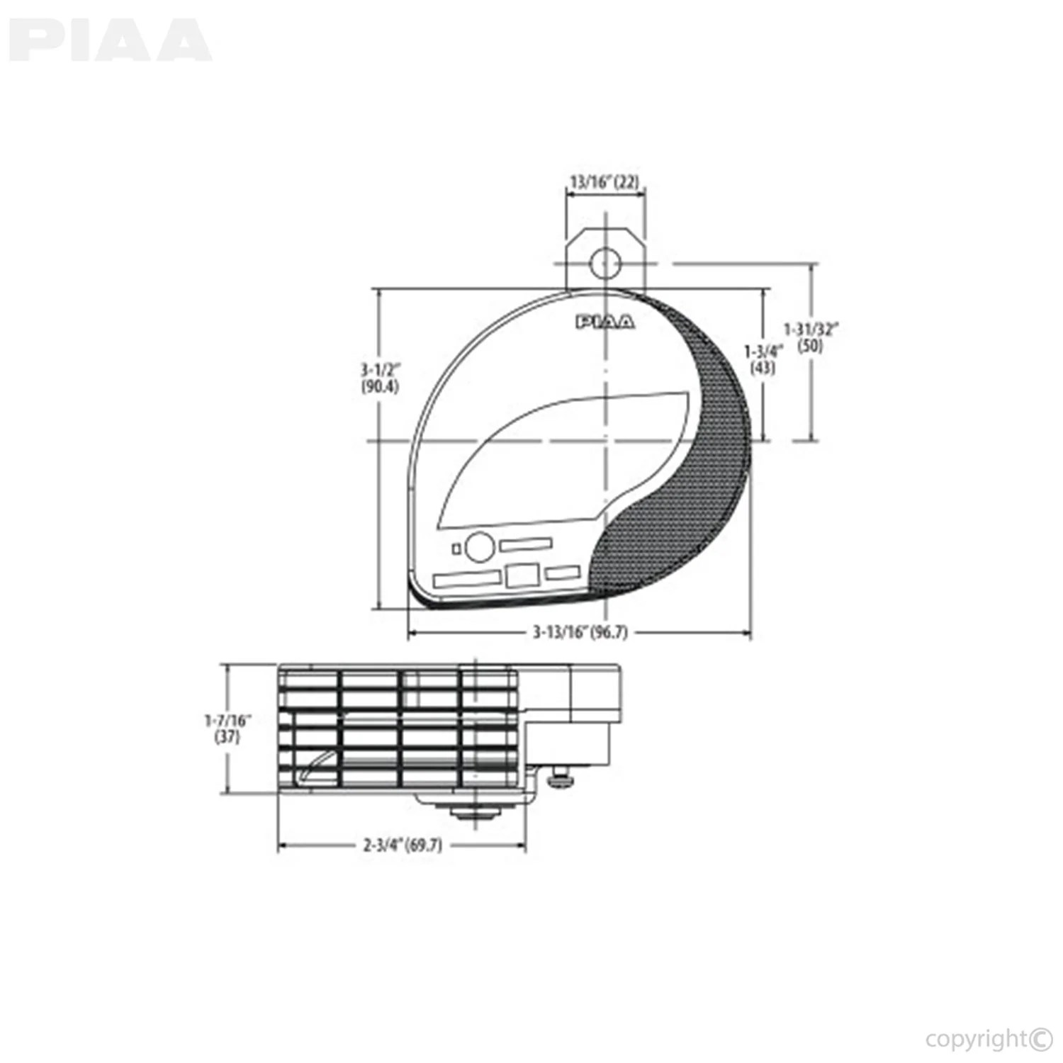 hight resolution of piaa powersports slim line sports horn 500hz piaa horn wiring diagram