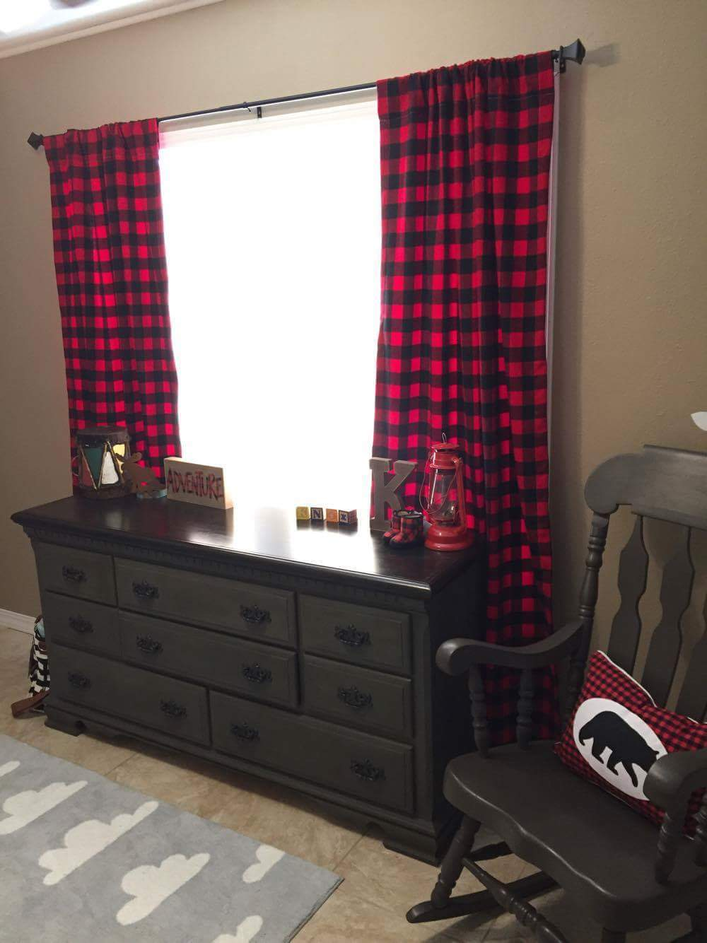 Curtain Panels Or Valance Red Black Buffalo Check DBC Baby Bedding Co