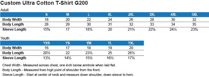 g200 shirt size charts