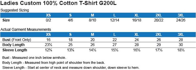 g200l t-shirt sizing chart