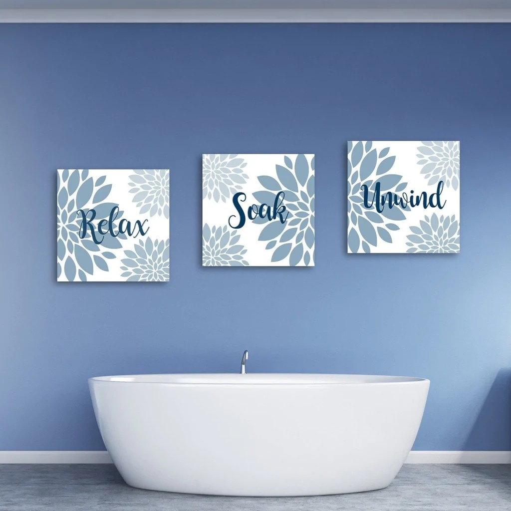 Relax Soak And Unwind Canvas Wall Art  Bathroom Decor