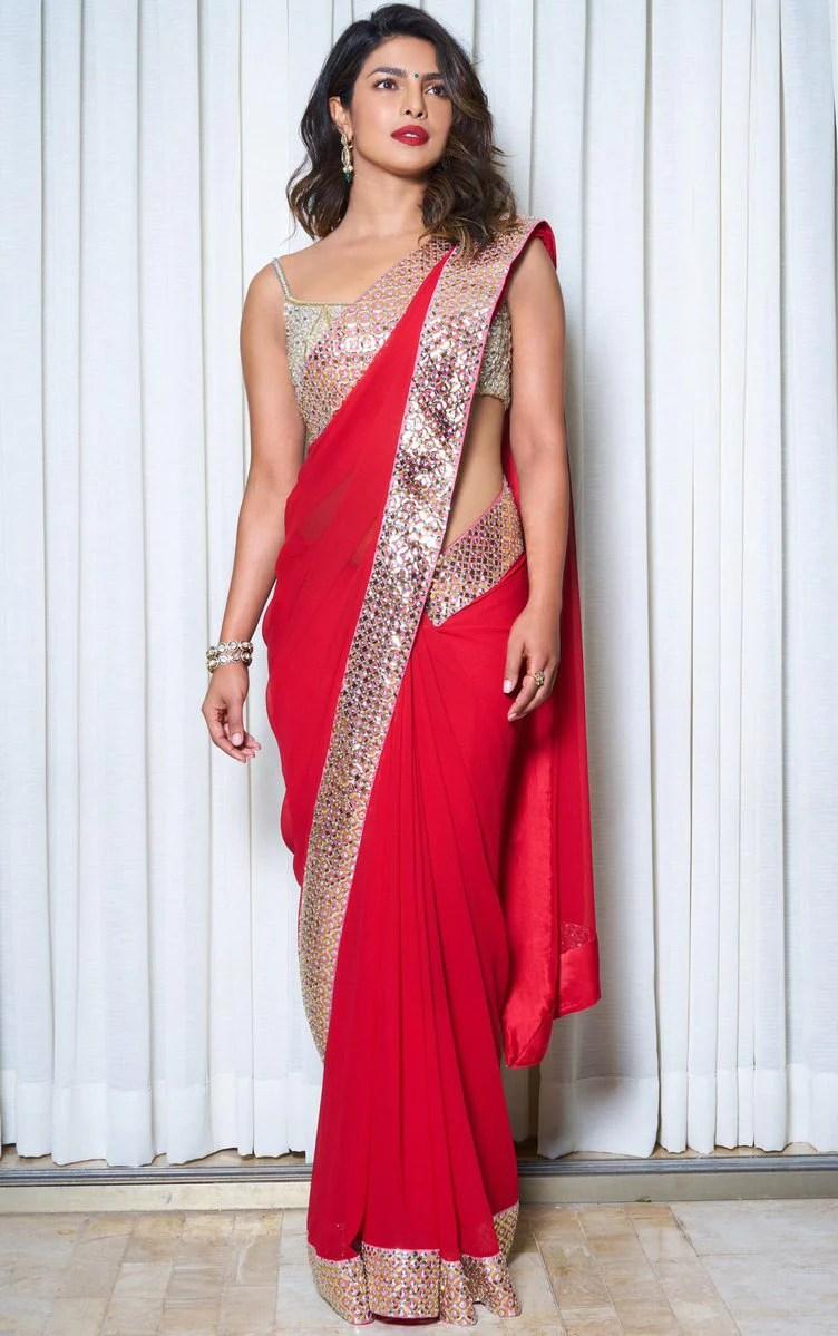 Priyanka Chopra in Abu Jani Sandeep Khoslas Red Saree  Priyanka Chopra Hot Saree  Priyanka