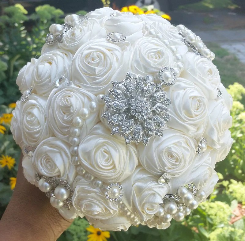 Ivory Satin Rose Brooch Bouquet EMR010  Bouquets by Nicole