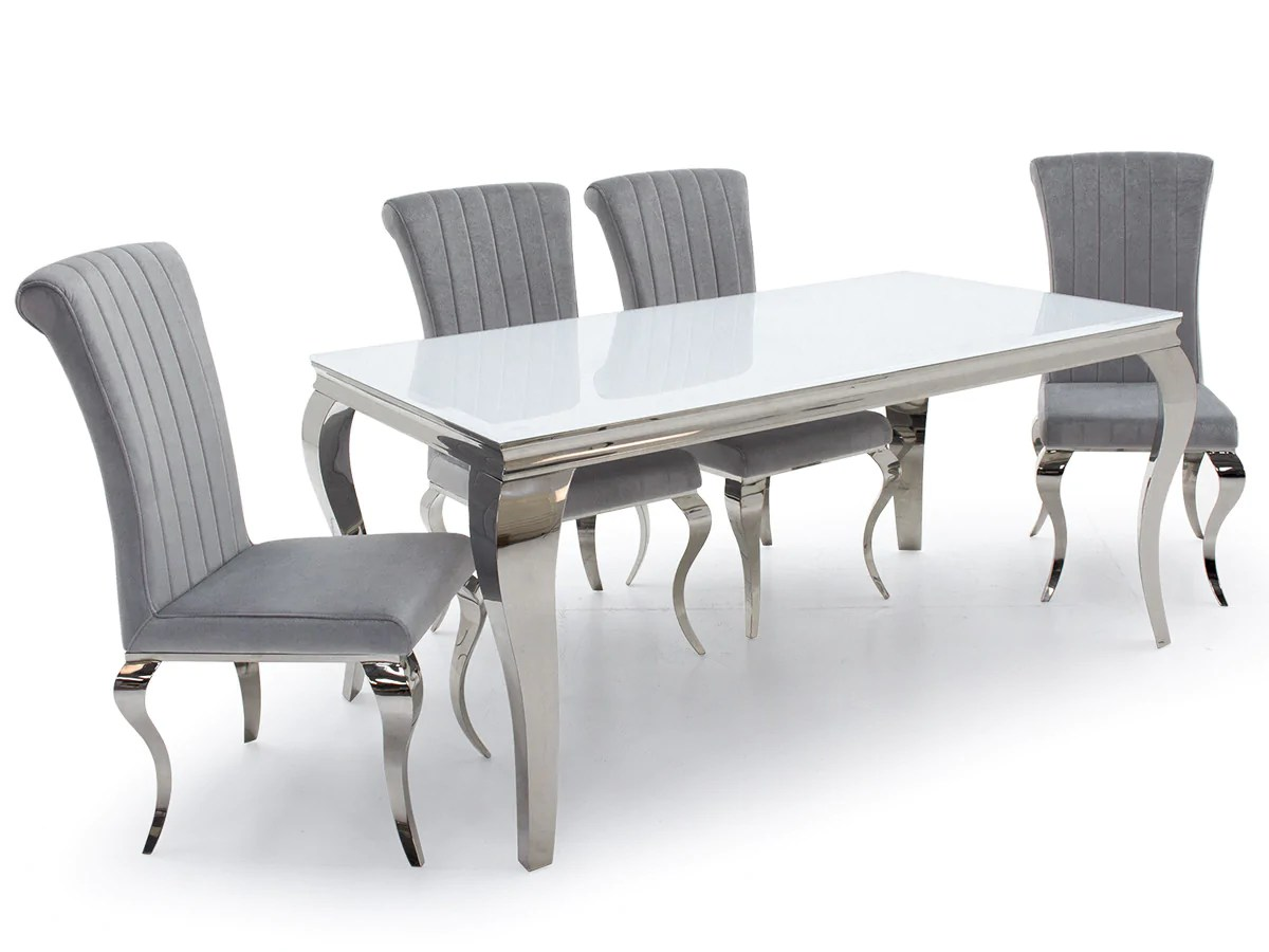 Silver Dining Chairs Louis White Glass 200cm Dining Table Nicole Silver Velvet Dining Chairs