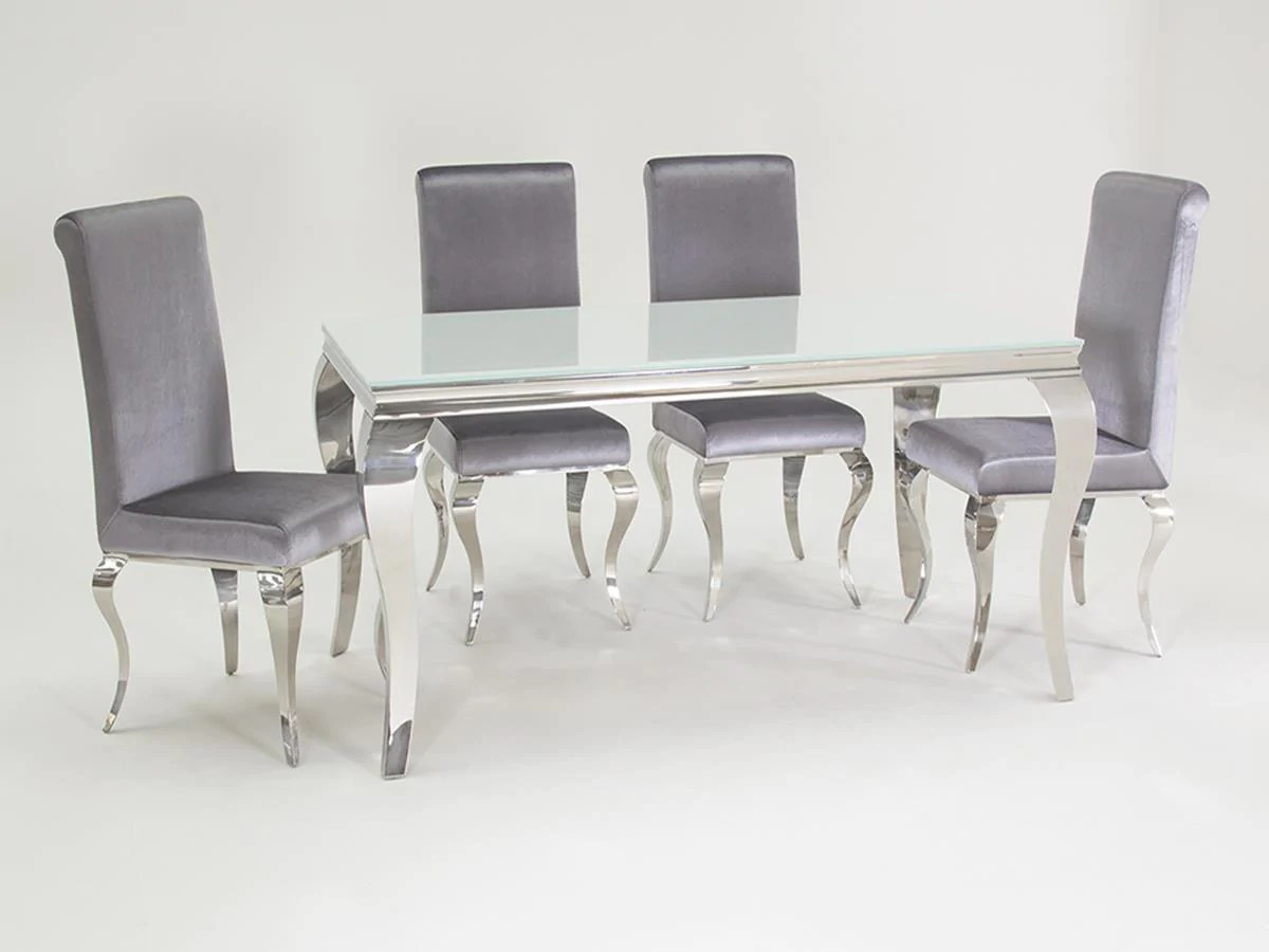 Silver Dining Chairs Louis White Glass 160cm Dining Table 6 Silver Velvet Dining Chairs