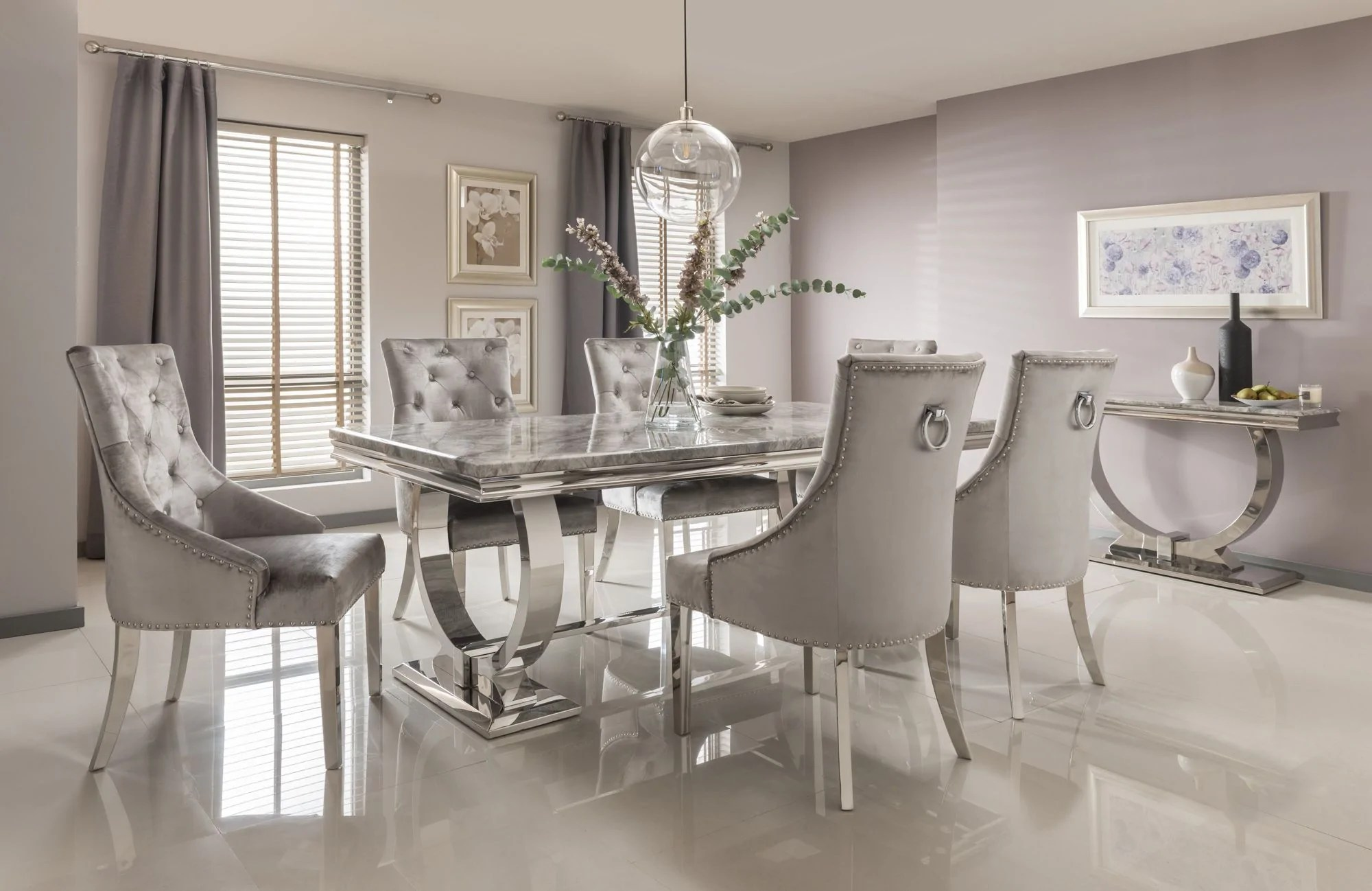 Arianna 180cm Grey Marble Dining Table Belle Pewter Velvet Chairs