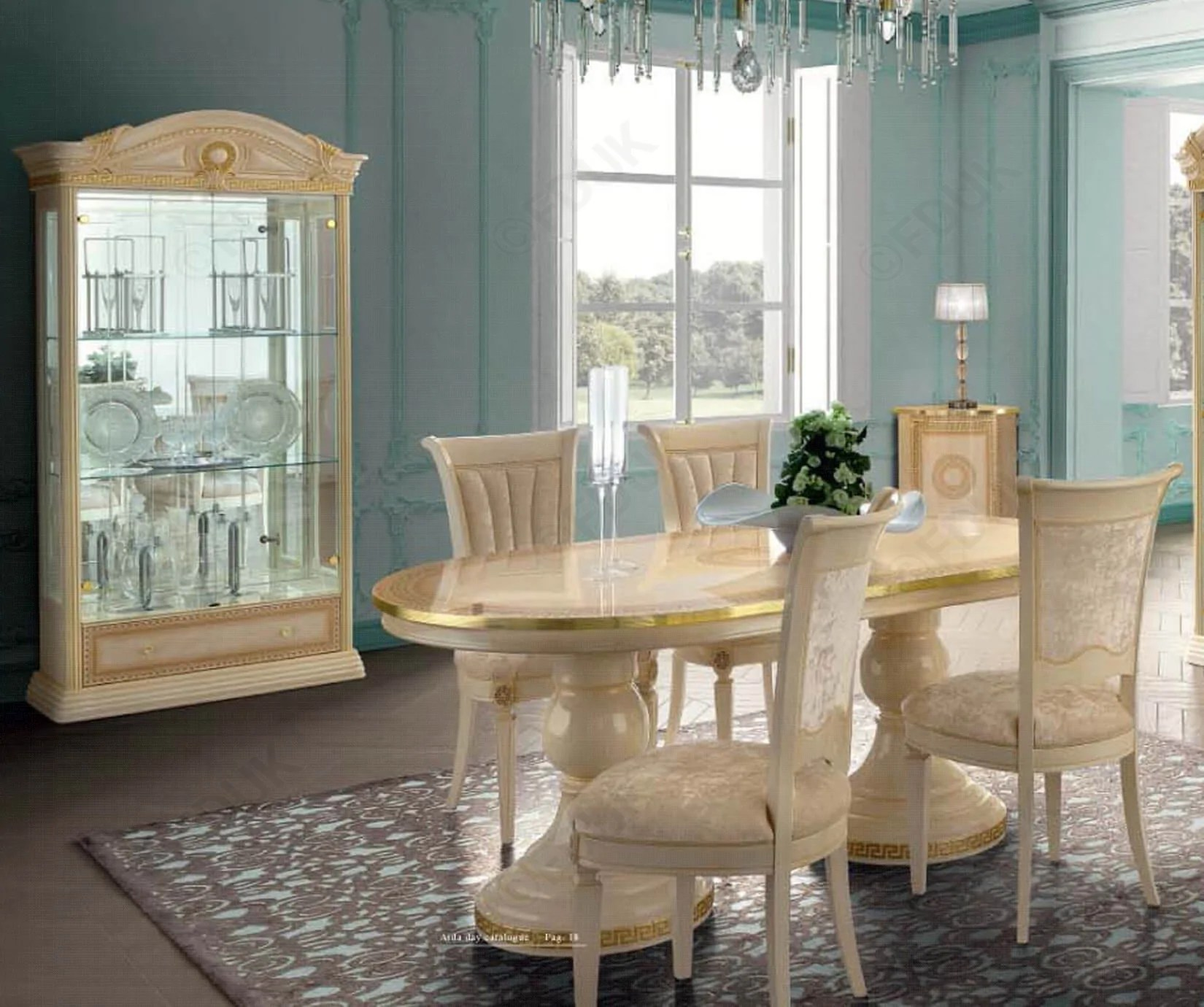 Italian Dining Chairs Aida Ivory And Gold Oval Extension Italian Dining Table 4 Chairs