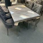 Louis 150cm Grey Marble Dining Table Light Grey Lion Knocker Plush V