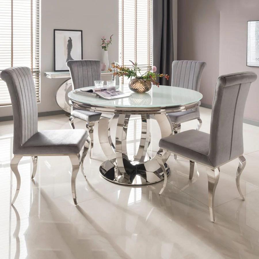 round kitchen table for 6 vinyl backsplash ohio 130cm white glass chrome dining nicole chairs imaginex