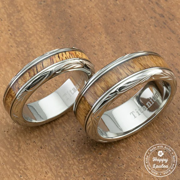 Pair Of Hand Engraved Titanium CoupleWedding Ring With