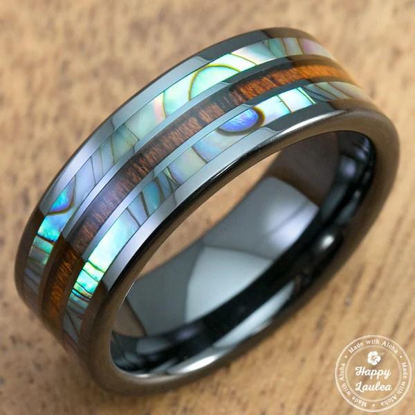 Hi Tech Black Ceramic Ring With Abalone Paua Shell Amp Koa