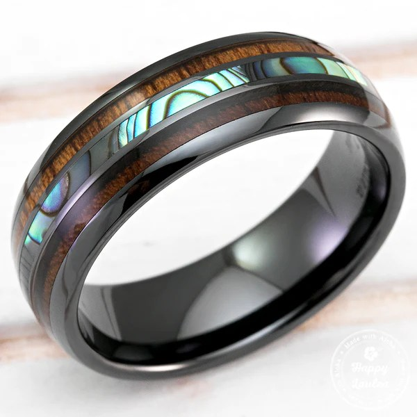 Black Hi Tech Ceramic Ring With Abalone Paua Shell