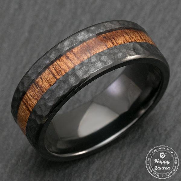 Black Zironium Hammered Ring With Offset Koa Wood Inlay