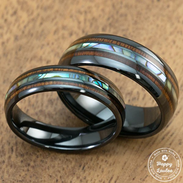 Pair Of 6 Amp 8MM Black Ceramic Ring With Mid Abalone Shell