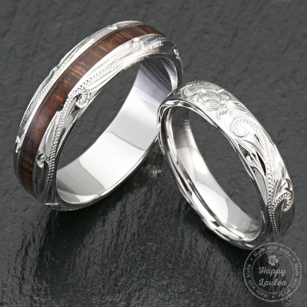 Pair Of 4 Amp 6mm Sterling Silver Hawaiian Jewelry Couple Wedding Rings Wi
