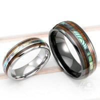 Tungsten Wedding Band Set With Mother Of Pearl Abalone Shell