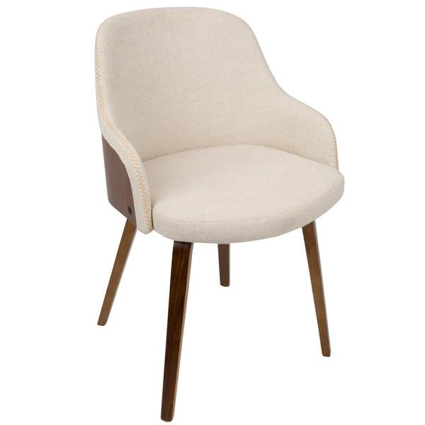 mid century barrel dining chair posture seat wedge accent walnut cream rustic edge