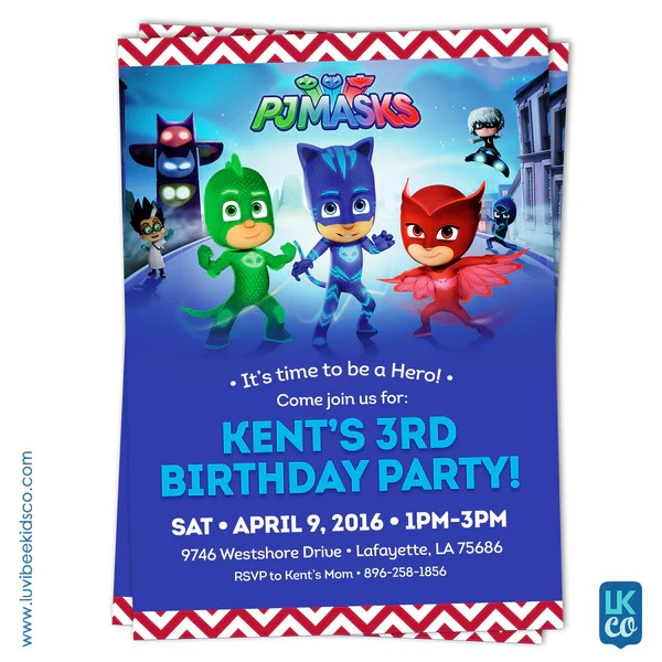 PJ Masks Invitation Birthday Invitation For Boy Or Girl