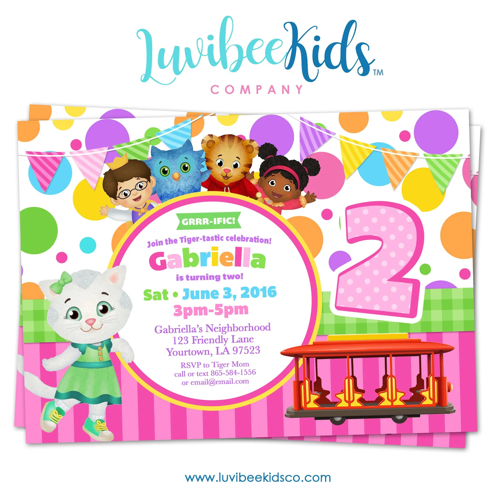 daniel tiger invitation for girls colorful pink purple dots style 016