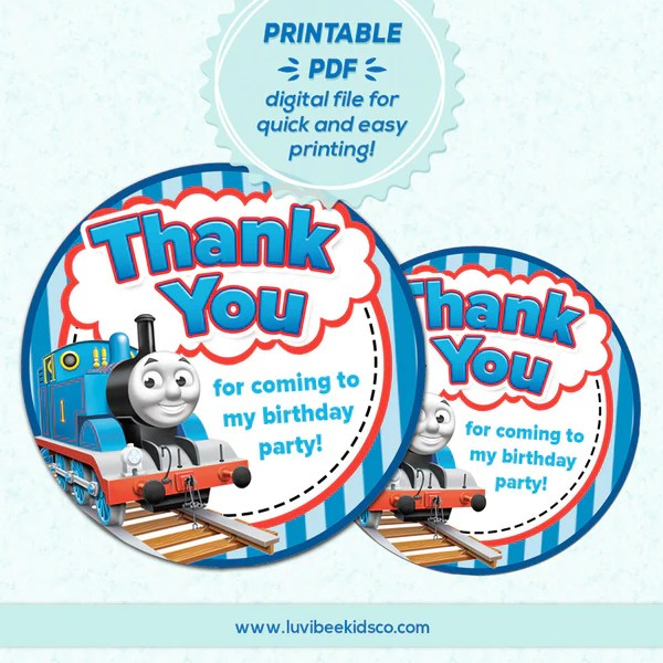 "Thomas The Train Thank You 2"" Round Labels Instant"