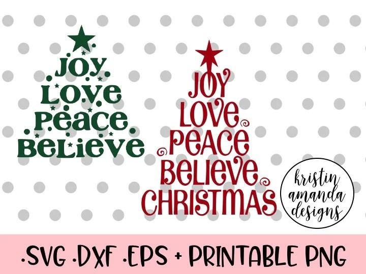 Download Joy Love Peace Believe Christmas Tree Bundle SVG DXF EPS ...