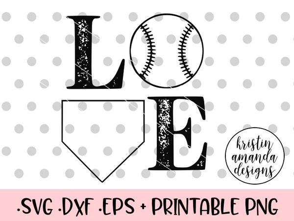 Download Love Baseball Distressed SVG DXF EPS PNG Cut File • Cricut ...