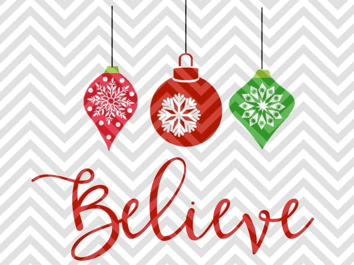 Download Believe Hanging Christmas Ornaments SVG and DXF Cut File ...