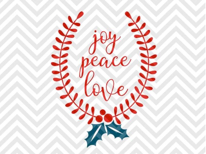 Download Peace Love Joy Mistletoe Christmas Laurel Wreath SVG and ...