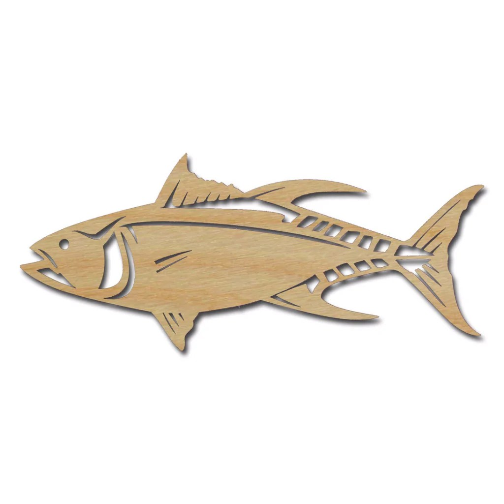 medium resolution of tuna fish shape wood cutout unfinished wooden sea life shapes