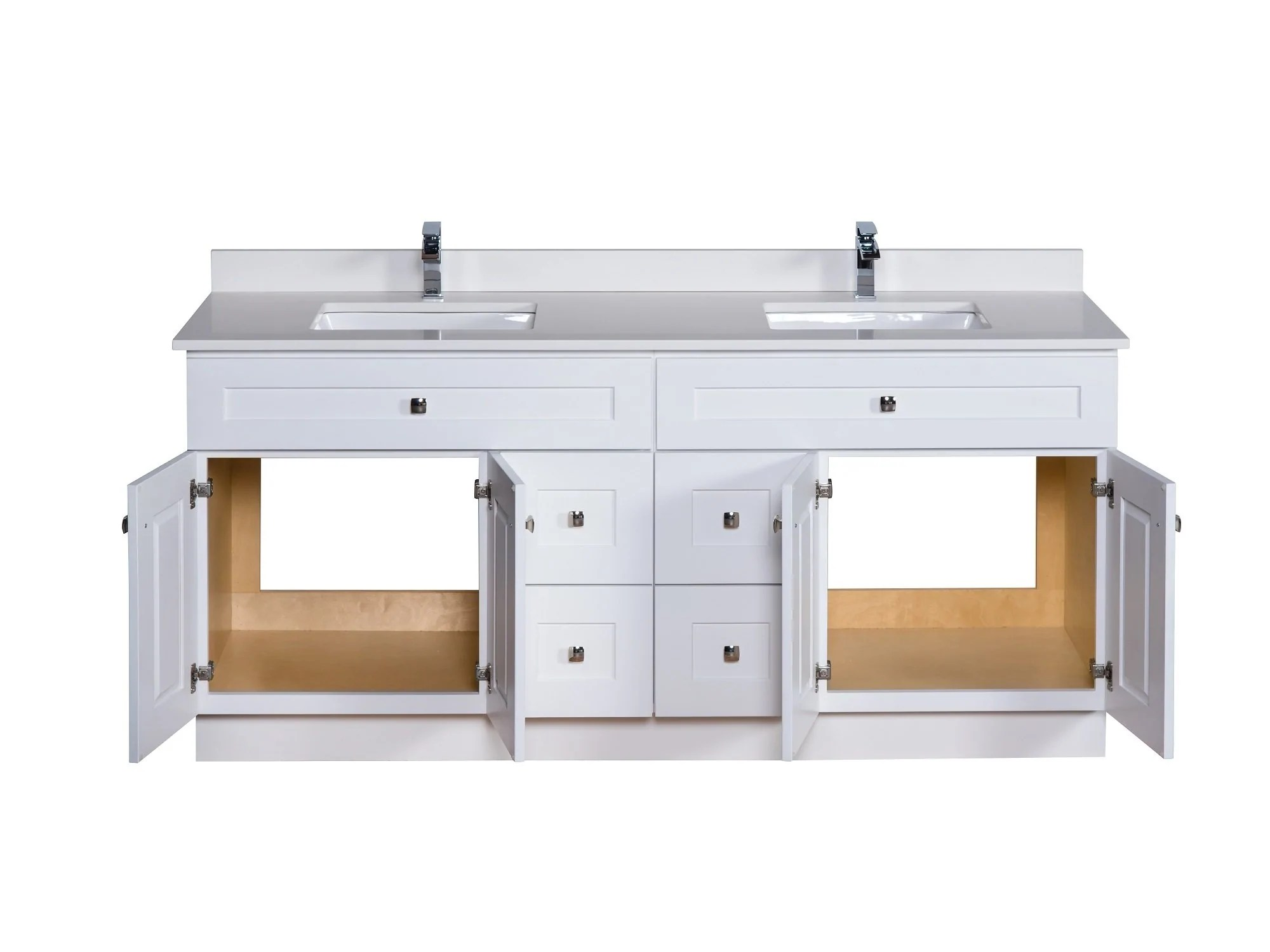 72 double sink bathroom vanity in white broadway vanities