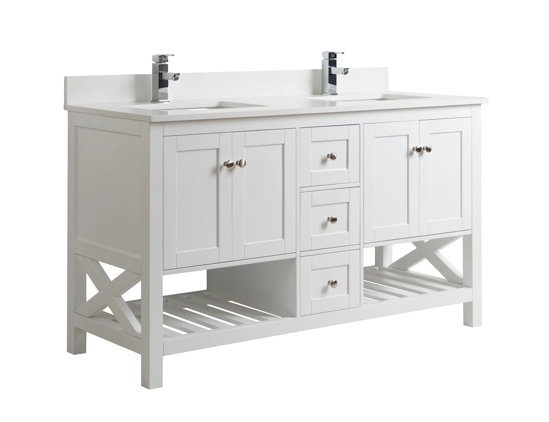 White Double Sink Vanity 60 Inch