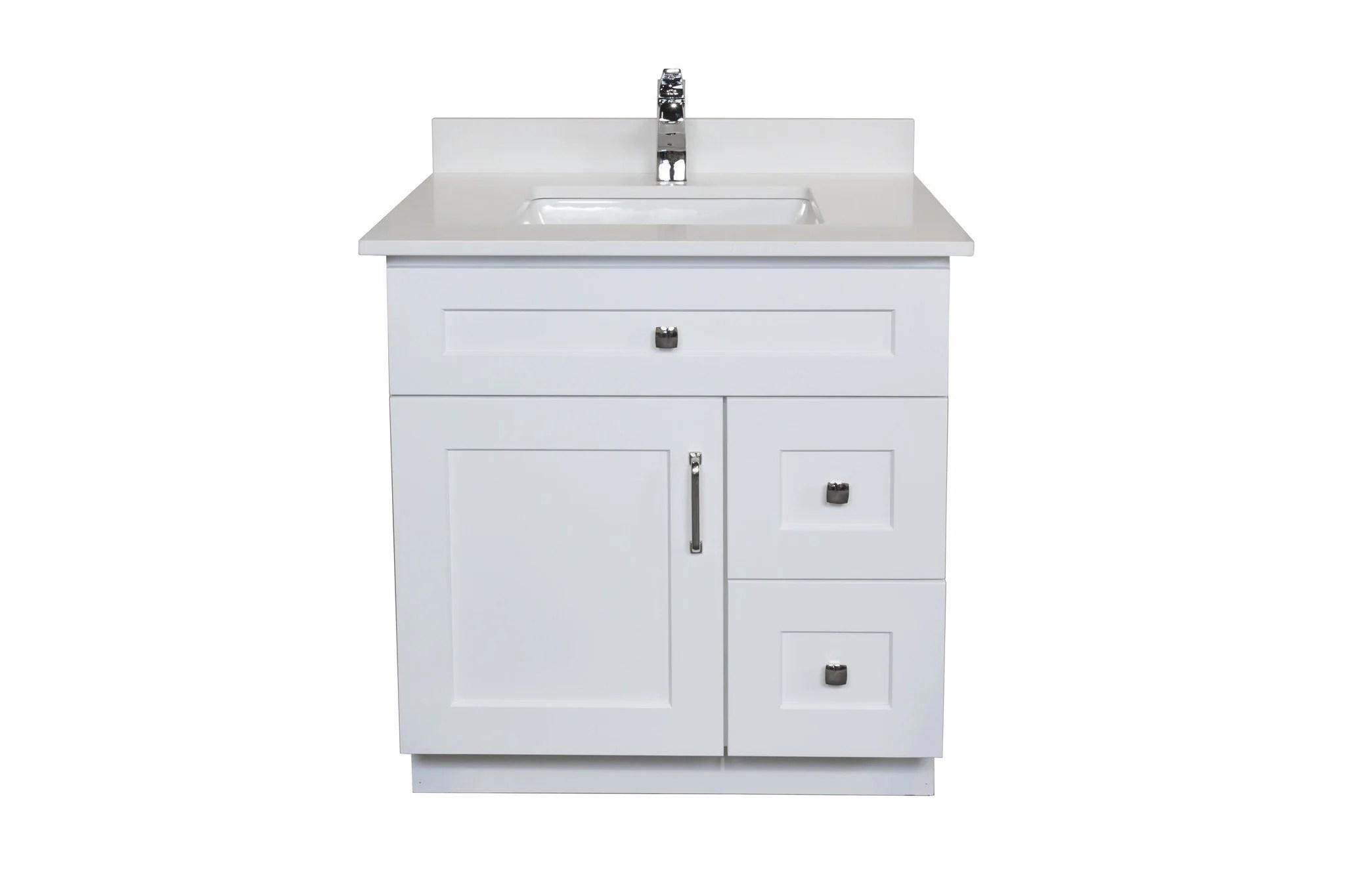 30 Maple Wood Bathroom Vanity In White Combo Broadway Vanities