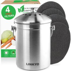 Kitchen Composter Wallpaper Linkyo Compost Bin 4 Filters Stainless Steel 1 Gallon