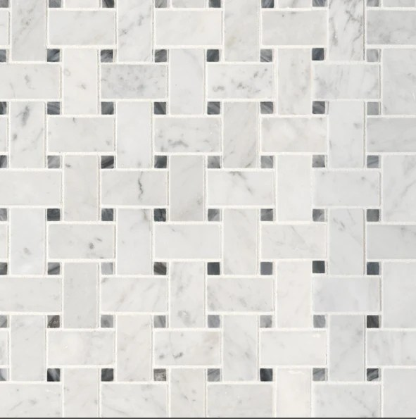 carrara white marble mosaic basket weave
