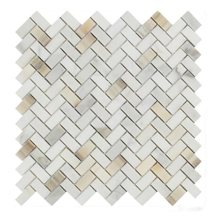 calacatta gold marble mosaic 5 8 x 1 1 4 mini herringbone