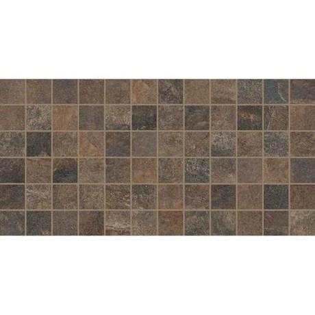 slate attache multi brown ceramic mosaic 2 x 2